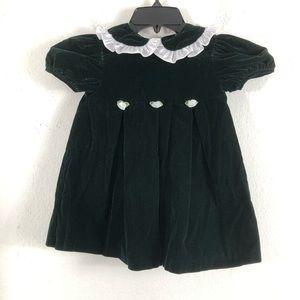 VTG Allison Ann Green Velvet Girl Dress size 3 T